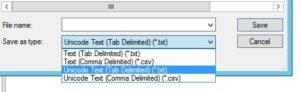 ファイル形式をUnicodeに変更