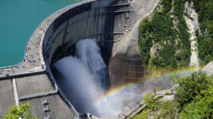 展望台からの放水時の景観