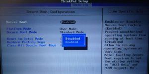 Secure Bootを選択します Thinkpad BIOS設定画面