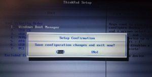 ThinkPad BIOS設定 Bootデバイス順を変更後、F10を押します