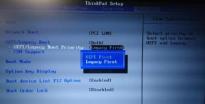 Thinkpad BIOS設定画面 Legacy First選択