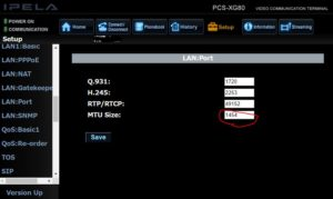 Setup>LAN:Port>MTU Sizeを変更