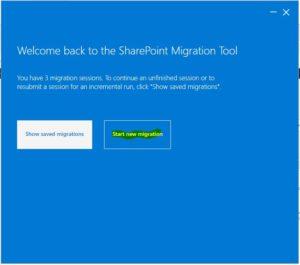 Start New Migrationをクリック