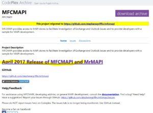 April 2017 Release of MFCMAPI and MrMAPIをクリック