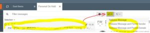 「Personal On Hold」タブ中のメールアイテムを選択→右側に表示された詳細の👍マークを押下→処理を選択
