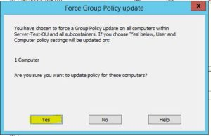 GPOの影響を受けるコンピューター及びユーザーの数が表示されるので、Yesを押下