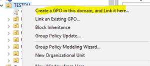 グループポリシーを新規に作成する場合は「Create a GPO in this domain, and Link it here...」を選択