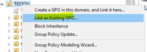 既存のグループポリシーを特定のOUに適用する場合は「Link an existing GPO...」を選択