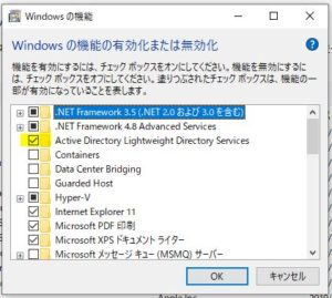 Active Directory Light weight Directory ServiceをON