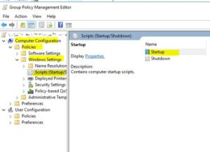 Computer Configulation->Policies->Windows settings->Scripts(Startup/Shutdown)の順に展開